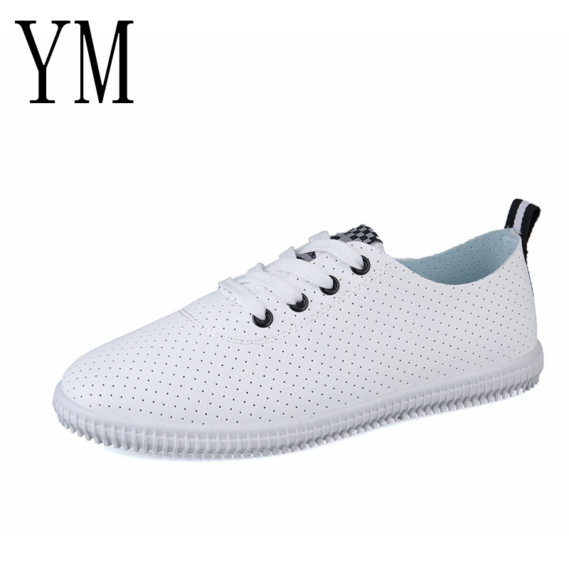 2018 New Style Women Sneakers Breathble Vulcanized Shoes Lady Pu leather Shoes Mesh Lace up Casual Shoes Round toe White Sneaker sportive women flower pattern embroidered white pu leather shoes lace up sneaker