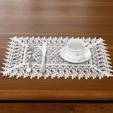 European Openwork Embroidery Lace Coaster Table Mat Round Square Insulation Bowl Pads Fabric Teacups Placemat Christmas Decor