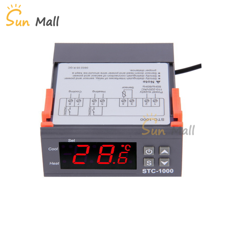 New LED Digital Temperature Controller STC 1000 12V 24V 220V Thermoregulator thermostat With Heater And Cooler|Temperature Instruments| |  - title=