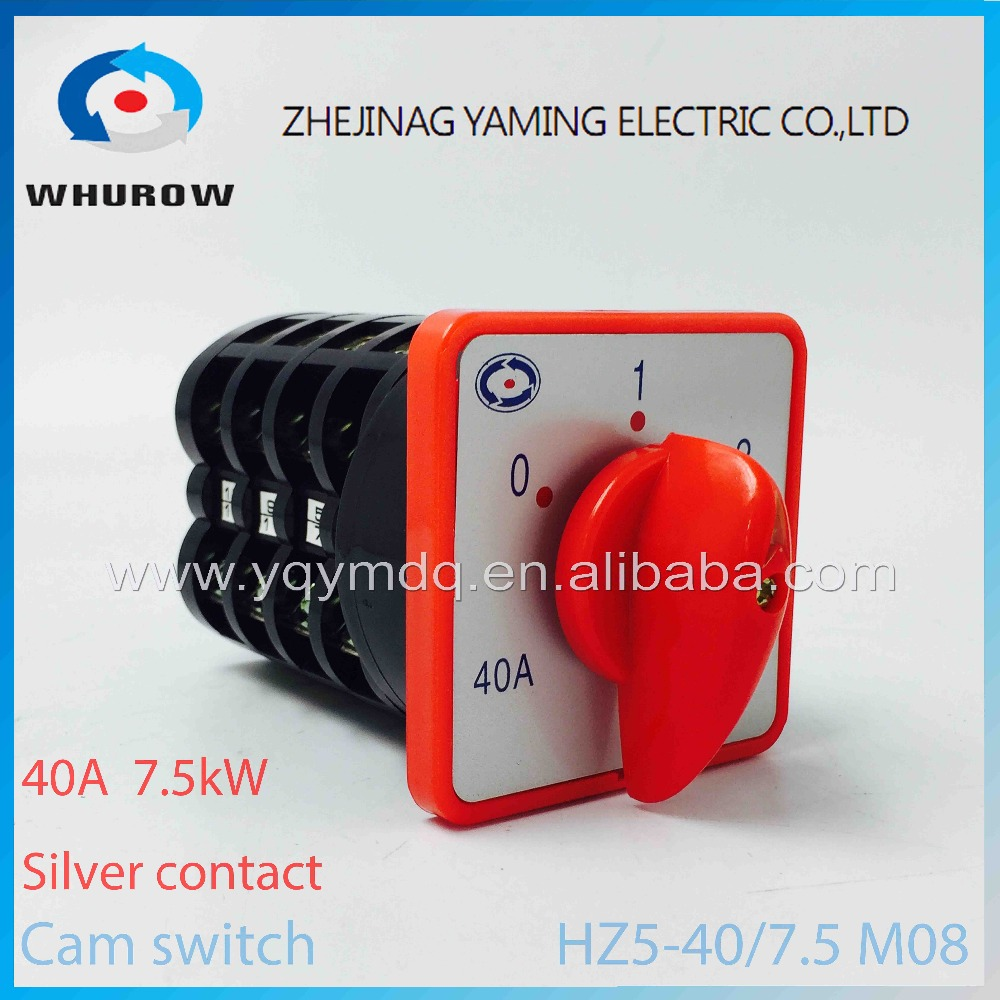 HZ5-40/7.5 M08 automatic electrical changeover rotary cam combination switch four poles 40A 7.5kw 380V sliver point contacts rotary switch ymz12 25 4 changeover cam combination switch 4 poles 8 positions 14 terminals 25a ui 690v sliver point contacts