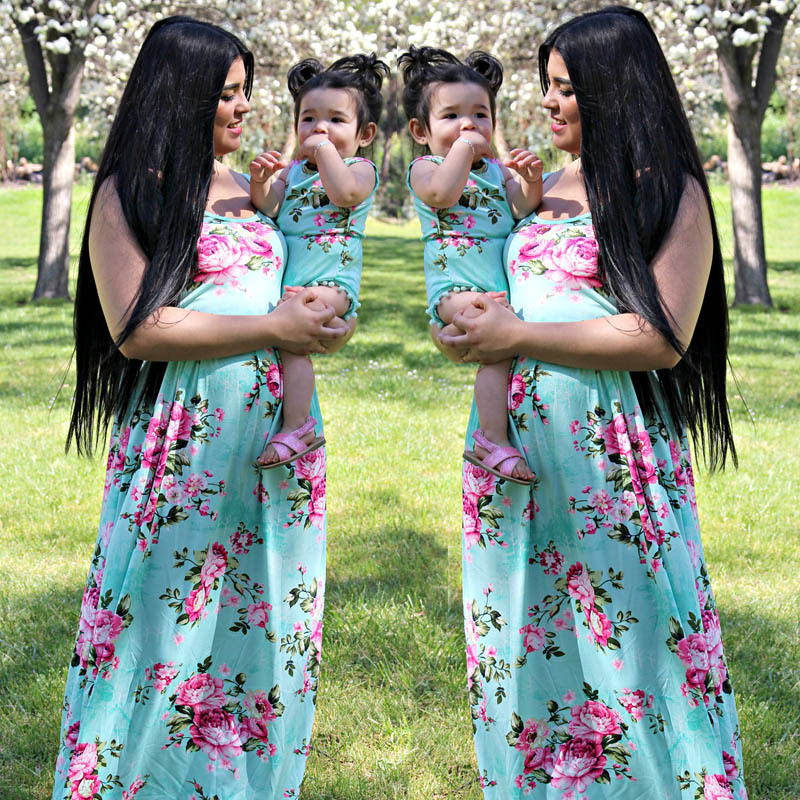 Family Matching Outfits Summer Fashion Floral Printing Sleeveless Dress Outfits Mother and Daughter Overalls Baby Girl Clothes in Matching Family Outfits from Mother Kids