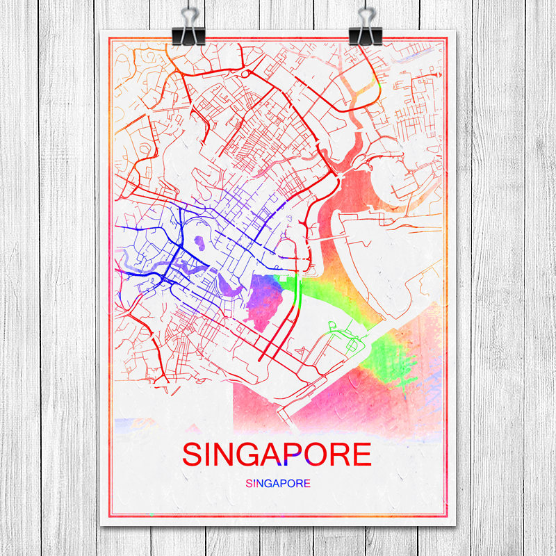 SINGAPORE Colorful World City Map Print Poster Abstract Coated Paper Bar Cafe Pub Living Room Home