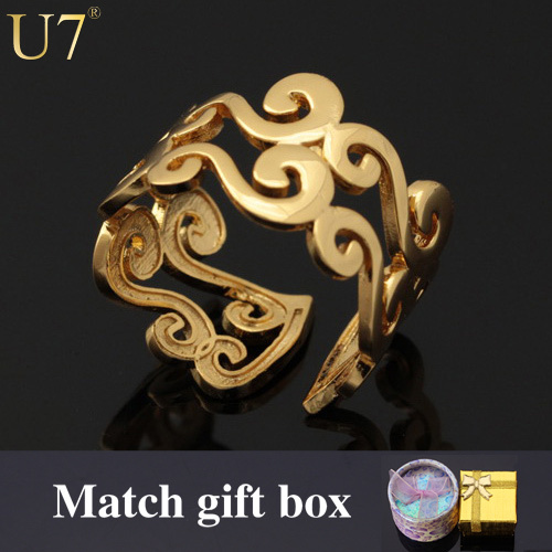 U7 S Letter Rings For Women/Men Jewelry Gold Color Trendy Resizable Wedding Bands Vintage Ring Sale R309