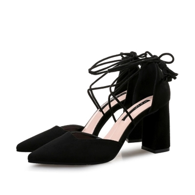 2018 European and American new pointy rough with a single shoe sexy straps hollow suede tassels high heels