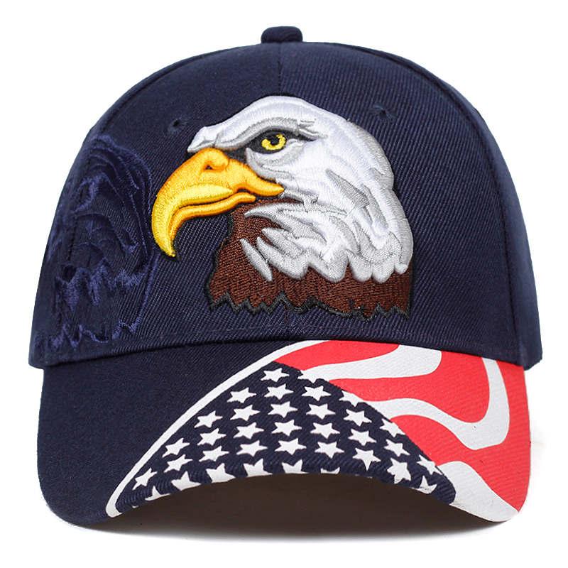 BALL CAP  NEW EAGLE AND USA FLAG  NAVYBLUE HAT