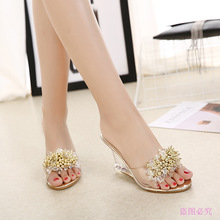 Fashion sandals female 2018 crystal slope with fish mouth sandals and slippers high-heeled beaded rhinestone sandals flip-flops slope with super high heels sexy transparent diamond beaded sequined flowers fish head shoes lace summer sandals and slippers