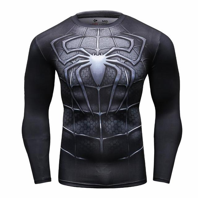 Fitness Compression Shirt Men Spiderman (black)