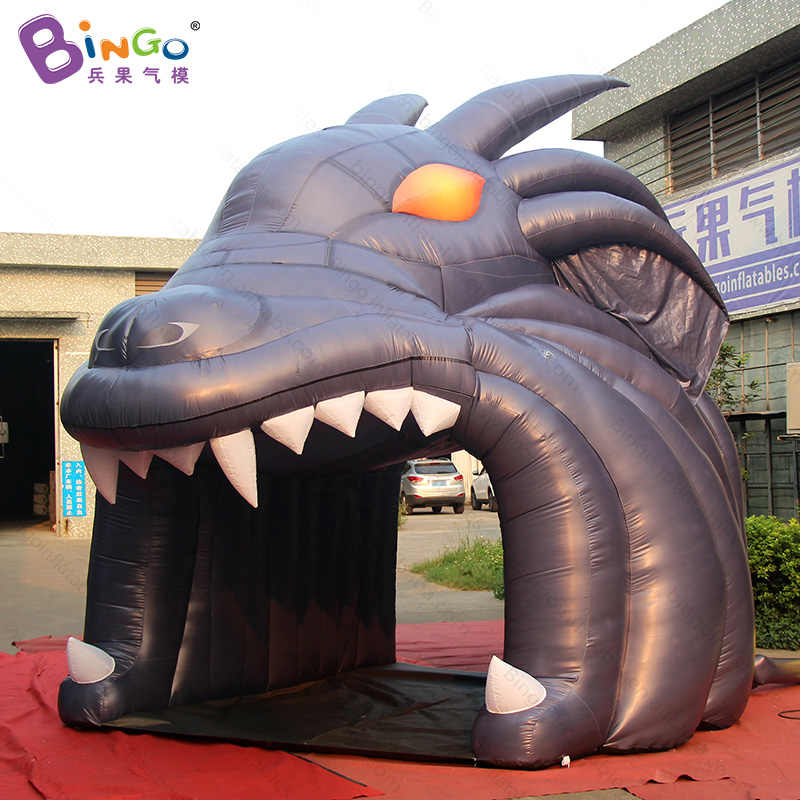 Free shipping dark gray football inflatable dragon head tunnel 4.6X4.3X4.3 Meters Customized blow up passageway toy tents