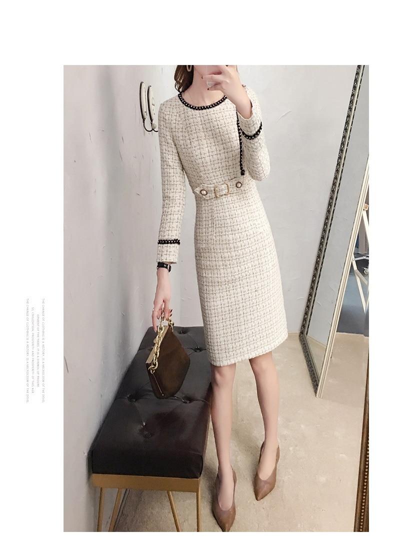 2019 New Tweed Dress Women Spring Vintage Wool Plaid Dresses Female Elegant Woolen Dress Ladies Office Vestidos 23