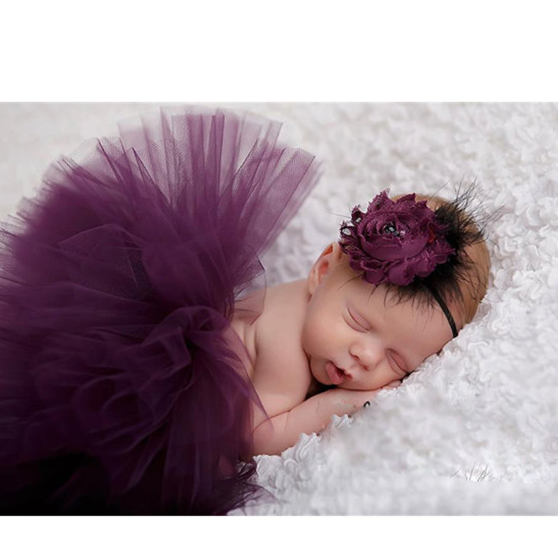 Baby Tutu Headband Costume Set Newborn Purple Tutu Skirt Rose Floral Hair  Accessories Infant Photography Props Baby Girls Photo-in Skirts from Mother    Kids ... b1a564433ea