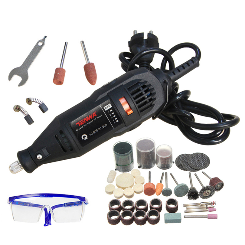 TENWA 180W Mini Drill Electric Engraver Grinder Variable Speed Electric Rotary Tool Set Grinder 110pcs Dremel Accessories DIY цены