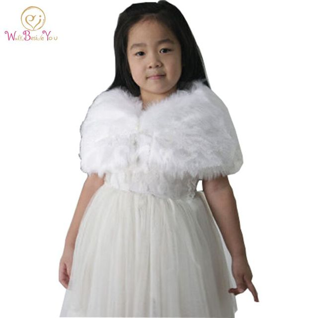 Child Faux Fur Wrap Pearl Shrug White Flower Shawl 6 Years Old Wraps Winter Wedding