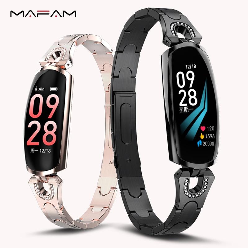 Mampa 2019 AK16 Smartwatch femmes bracelet 0.96 pouces coloré LCD Android montre étanche avec contrôle de la caméra pour Android IOS