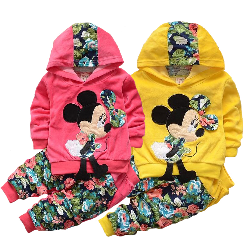 Minnie Girls Clothing Sets Spring Casual Cotton Hooded Children Clothes Set Full Sleeve Girls hoody Pants Kids Clothing