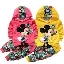 Minnie niñas conjuntos de ropa Casual de primavera con capucha ropa de niños de algodón de manga completa niñas con capucha pantalones niños ropa