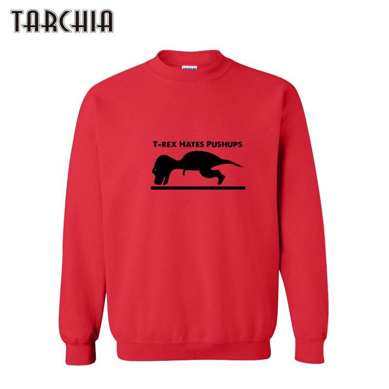 bb8bf9c830 TARCHIA mężczyźni bluzy 2019 nowy T-REX HATES PUSH UPS wydrukowano z długim  rękawem bawełniane swetry bluzy mężczyzna Hip Hop topy Plus rozmiar