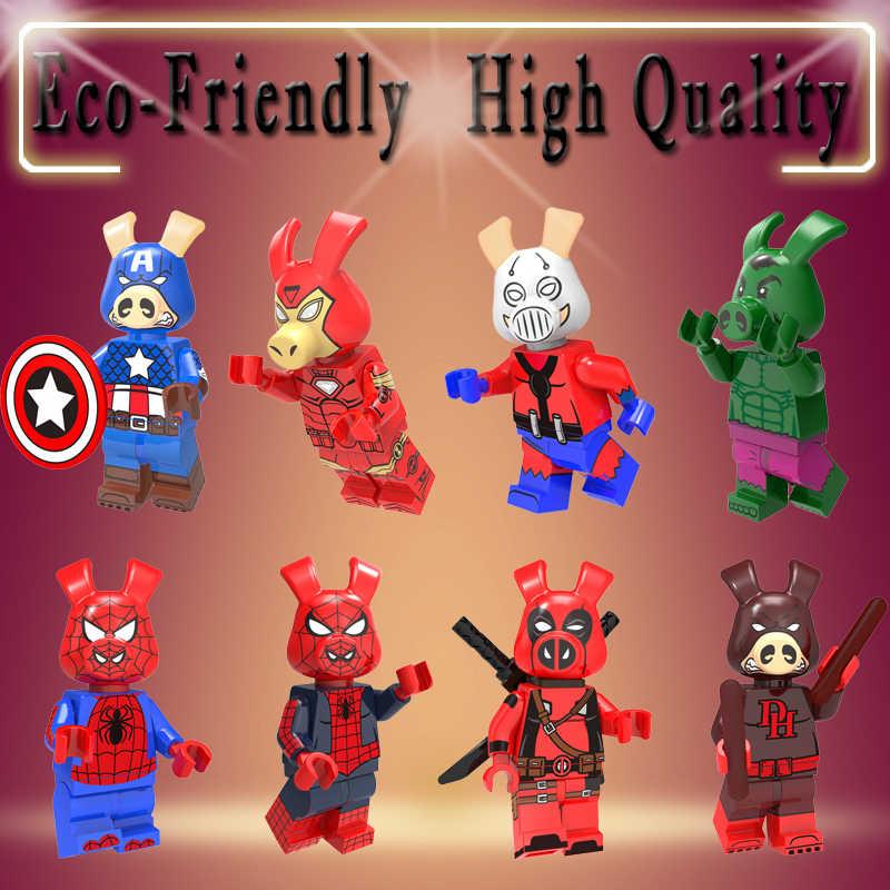 Blocos de construção de Super Heróis Ironman spiderman Capitão América do porco porco Aquaman Cyclops Figuras Para As Crianças Brinquedos kt1023