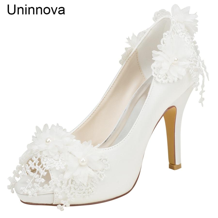 Chaussures de mariage ivoire blanc mariée demoiselles d'honneur pompes Peep Toe plate-forme fleur dentelle Satin élégant Uninnova 521-31 P LY femmes chaussures