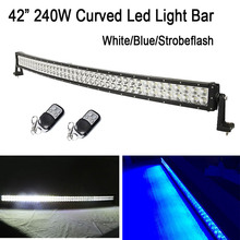 "42"" 240W White /Blue Color Stroboflash Led Curved Work Light Bar Spot Flood Combo for OFFROAD ATV SUV JEEP TRUCK 4X4 Driving"