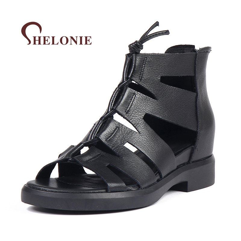 shelonie Genuine Leather Women Shoes Rome Zip Fashion Handmade Casual leather Shoes Soft Casual Women Sandals Shoes 2018 New summer shoes woman handmade genuine leather soft sandals casual comfortable women shoes 2017 new fashion women sandals