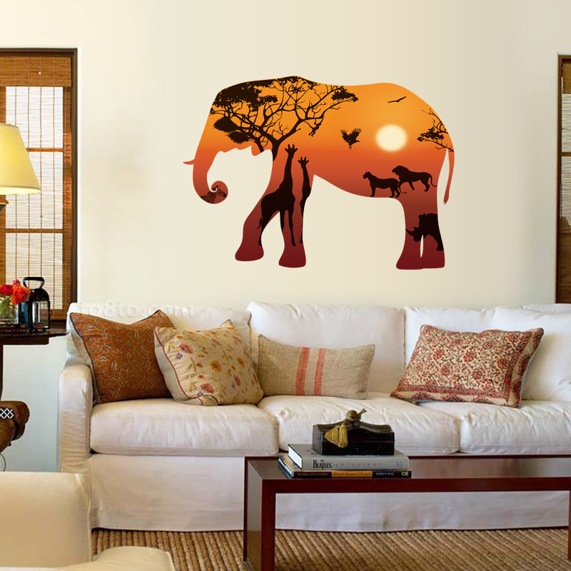 New elephant silhouette art wall stickers african for African sunset wall mural