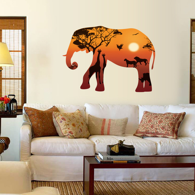 Nouveau Éléphant Silhouette Art Stickers Muraux Prairie Africaine ...