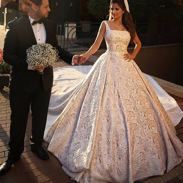 Luxury Vestidos De Noiva Lace Wedding Dress 2.8 Meter Train ...
