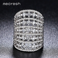Mecresh White Gold Plated Cocktail Rings For Women Unique Hollow Handcraft Pave Micro CZ Anel Rings 2017 Wedding Jewelry JZ029