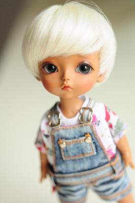 1/8 14cm BJD wig  short  hair  doll  DIY High-Temperature Wire for BJD SD dollfie 1 3 1 4 1 6 1 8 1 12 bjd wigs fashion light gray fur wig bjd sd short wig for diy dollfie