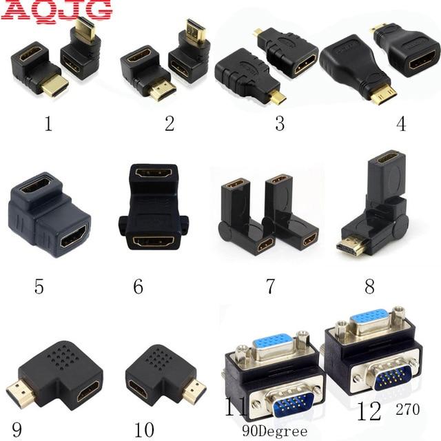 90 degrees hdmi Female to Female Male to male VGA to hdmi Converter VGA adapter 180 degrees 270 degrees VGA cables AQJG 2 in 1 1080p mini hdmi hdmi to vga 3 5mm av adapter w cables white