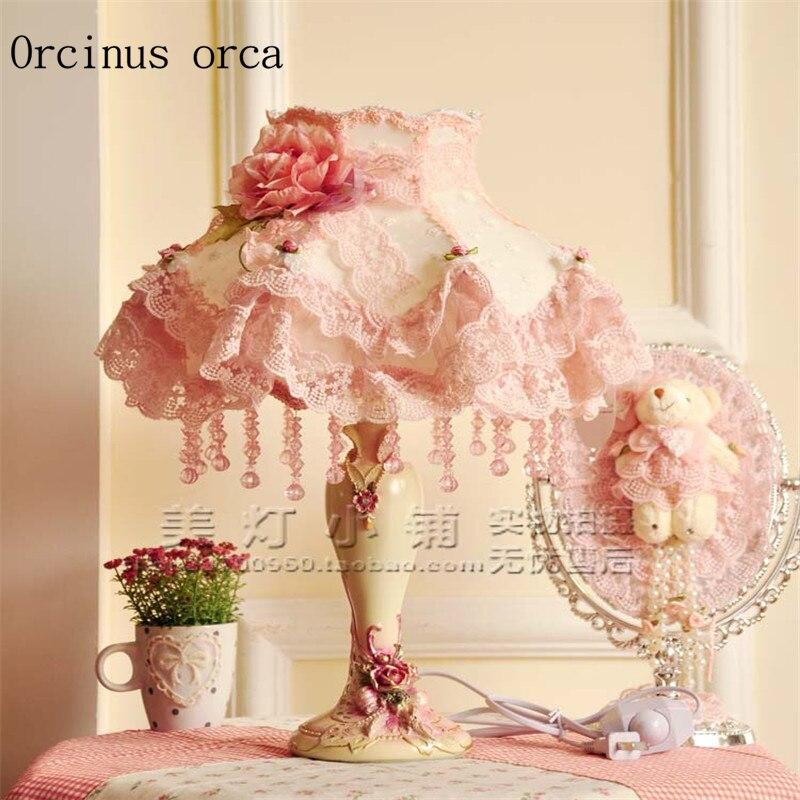 estilo europeo encaje pastoral lmpara de escritorio saln dormitorio viento princesa nia rosa dormitorio lmpara de