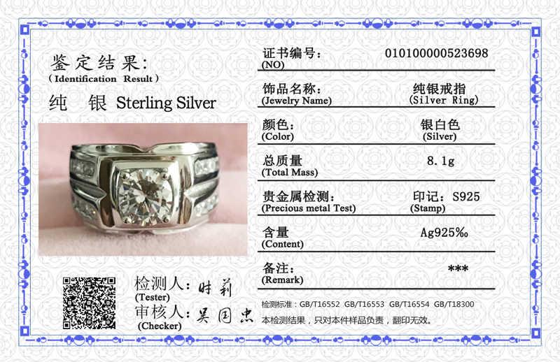 ส่งใบรับรอง! ผู้ชายหมั้นแหวน Original Solid 925 แหวนเงินรอบ Cubic Zircon งานแต่งงานแหวนขนาดใหญ่สำหรับชาย ZSRJZ004