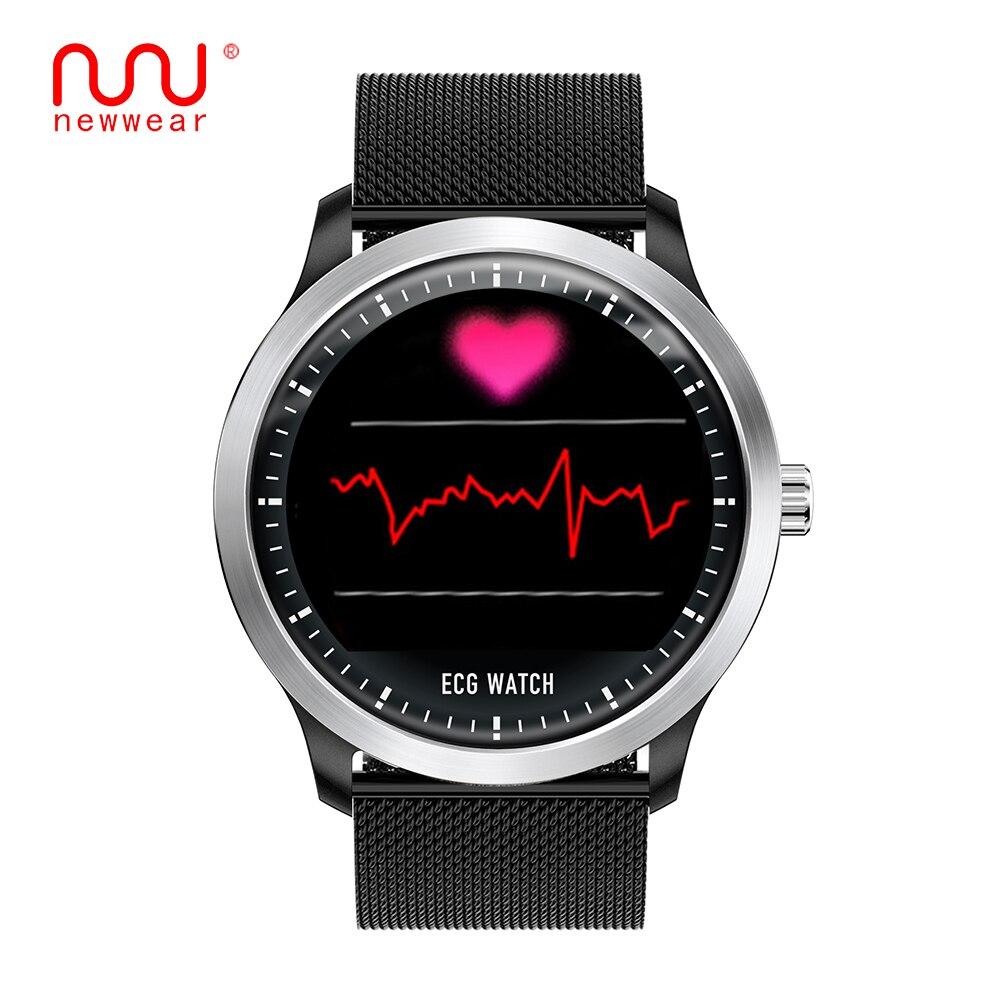 Montre intelligente NEWWEAR N58 ECG PPG avec affichage électrocardiographe ecg, smartwatch de pression artérielle holter ecg