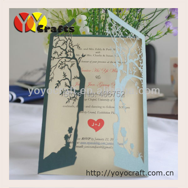 wholesale new design best price free logo paper laser cut freshers party invitation cards