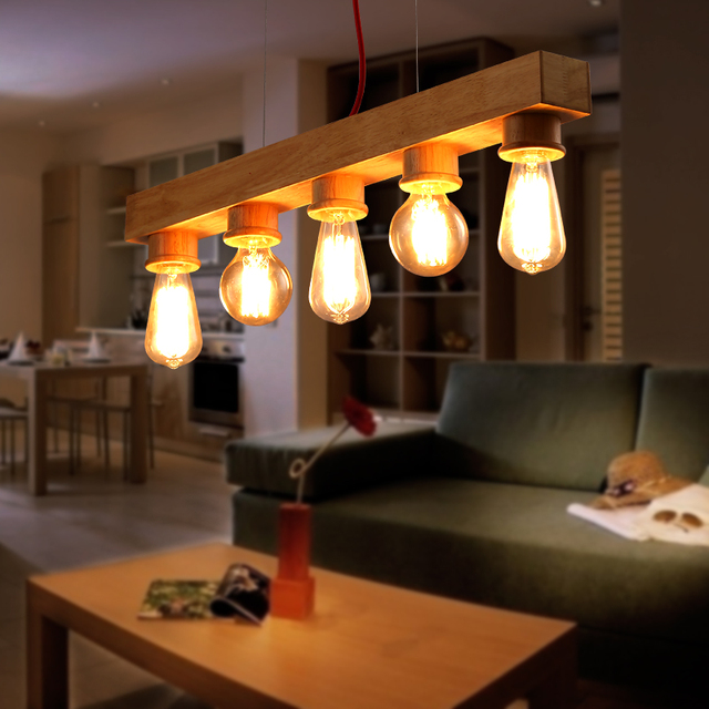 Hot Vintage Edison Bulbs Hanging Pendant Lights For Dining Room CreativeWooden Lamp Nordic Wood