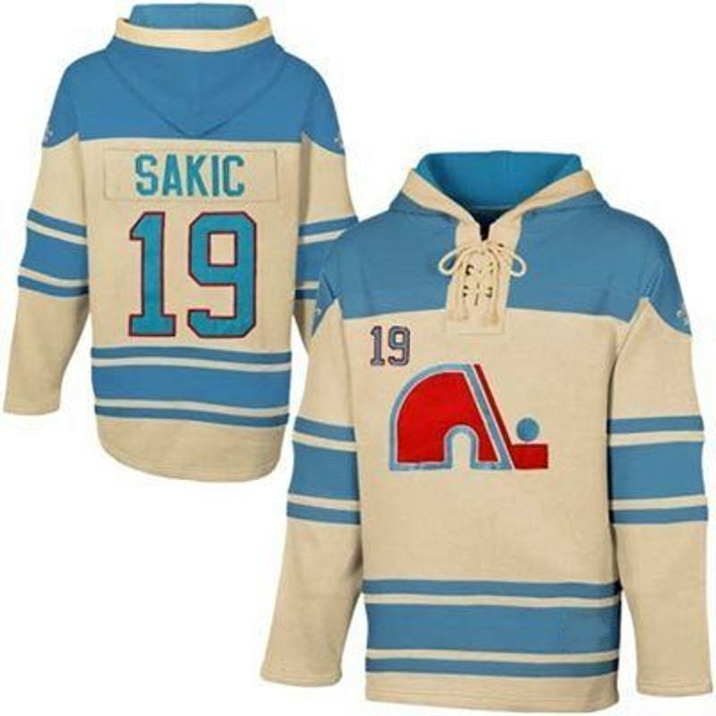 Quebec Nordiques Joe Sakic 19 Hooded Jersey Stitche Men's Ice Hockey Jersey Hoodies Sports sweater S-3XL Free Shipping active side pockets hooded design sports hoodies in burgundy