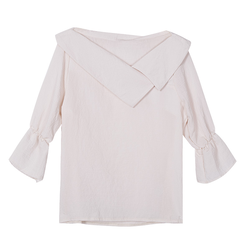 fbe8b09644c Merry Pretty Summer New Chiffon Blouse Women Half Flare Sleeve Skew Collar  Blouses Shirts Girls Solid Blusa Camisa Feminina MX24-in Blouses   Shirts  from ...
