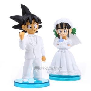 Аниме Dragon Ball Z Son Goku & ChiChi, фигурки из ПВХ на свадьбу, 10 см, набор из 2