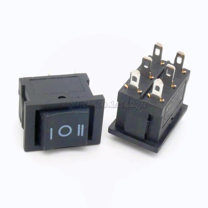 10PCS Ship Type Switch 15*21mm 6PIN ON/OFF/ON Boat Rocker Switch 6A/250V 10A/125V 15X21 promotion 10pcs red light on off spst round rocker switch 6a 250v 10a 125v ac
