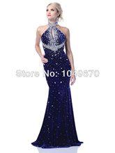 Royal Blue 2016 Halter Meerjungfrau Formale Abendkleider Strass Backless Reizvolle Nixe-langer Abschlussball Kleider N474