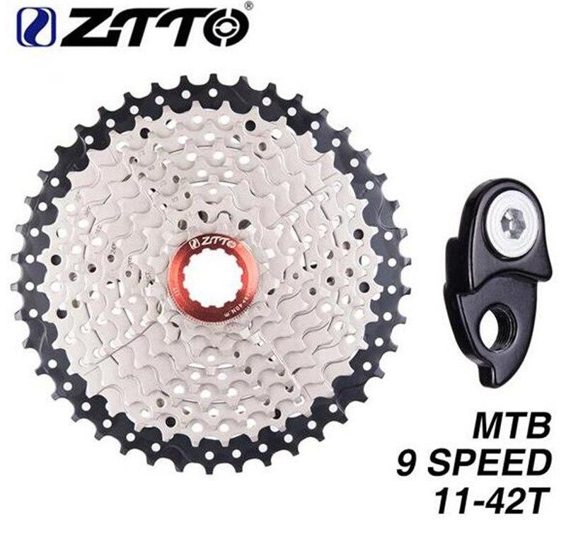 ZTTO vtt vélo roue libre 9 vitesses 11-42 T Cassette roue libre VTT pièces de vélo rapport large Compatible pour M430 M4000