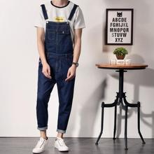 The spring and autumn new Siamese Denim Bib slim jeans all-match male Korean young man Suspenders