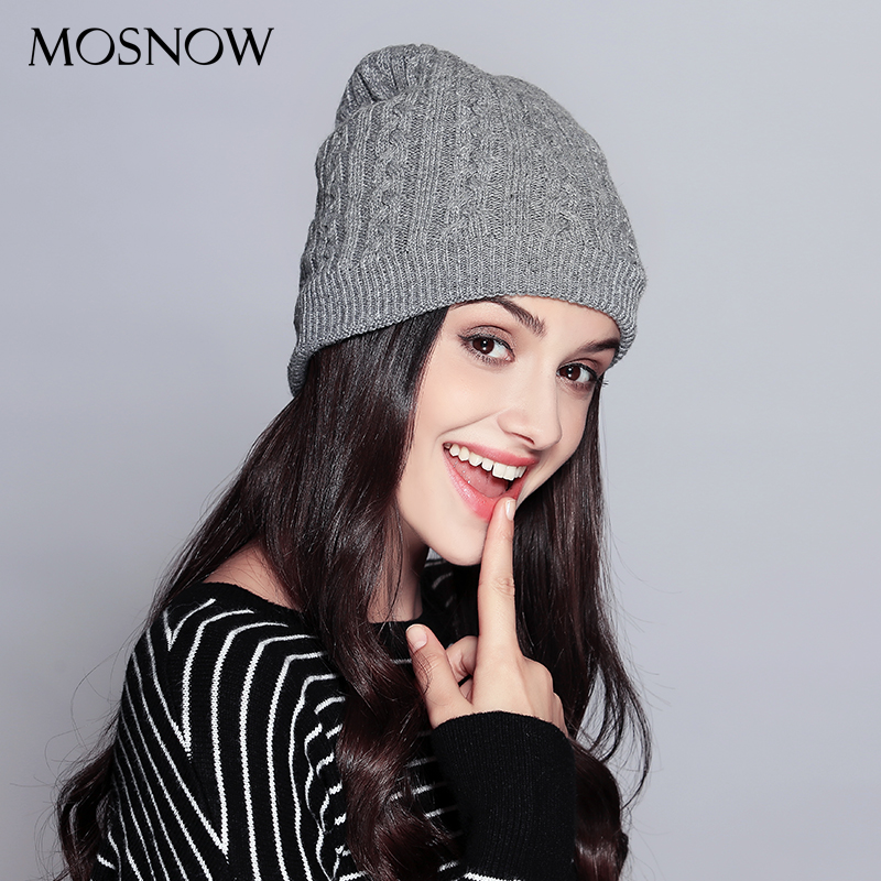 MOSNOW Hats For Women Casual Wool Double Layer Extra Thick 2017 Winter High Quality Knitted Hat Female Skullies Beanies  #MZ737 fibonacci winter hat knitted wool beanies skullies casual outdoor ski caps high quality thick solid warm hats for women