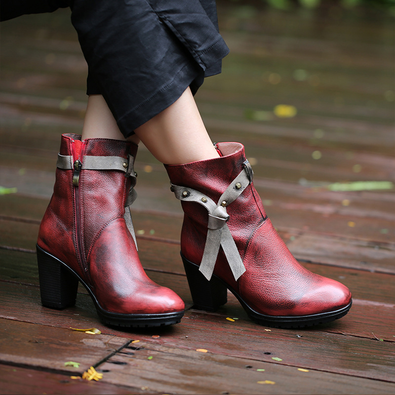 2018 autumn winter round head high heel women boots side zipper genuine leather Martin boots female shoes thick heel 8cm