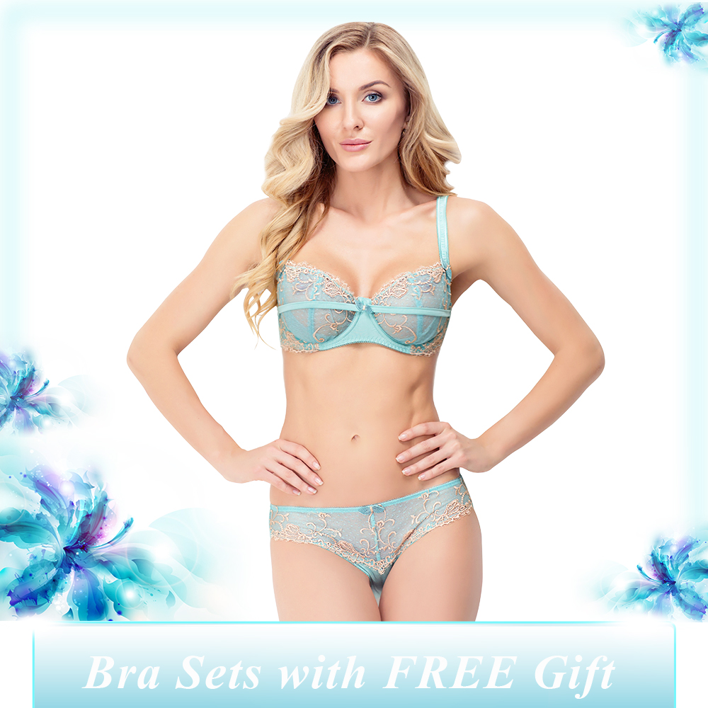 13f29f6d8bffb New Year Womens Sexy Bra Panty Set Ladies 3 4 Cup Underwire Push up Bralette  and Green Embroidery Briefs Lingerie Underwear set