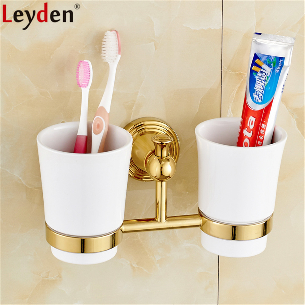 Leyden Golden Brass Wall Mounted Double Toothbrush Holders With 2 Creamic Cups Tooth Cup Holders For