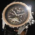 Projeto Tourbillon Relógio Mecânico Automático Dos Homens de luxo Moda Pulseira de Couro Genuíno Vestido Reloj Auto Data Masculina Relógio do Presente Caso