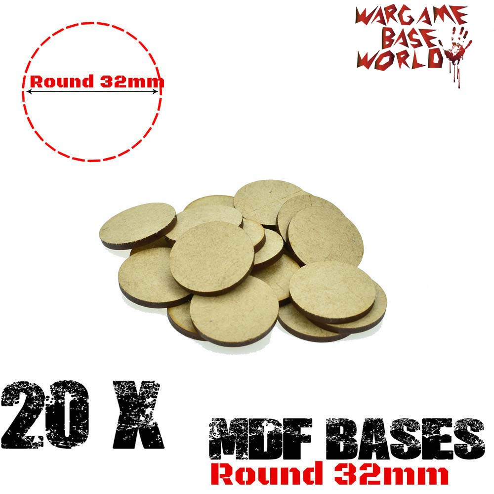 20x MDF Bases - 32mm Round Bases- Basing Laser Cut Wargames Wood