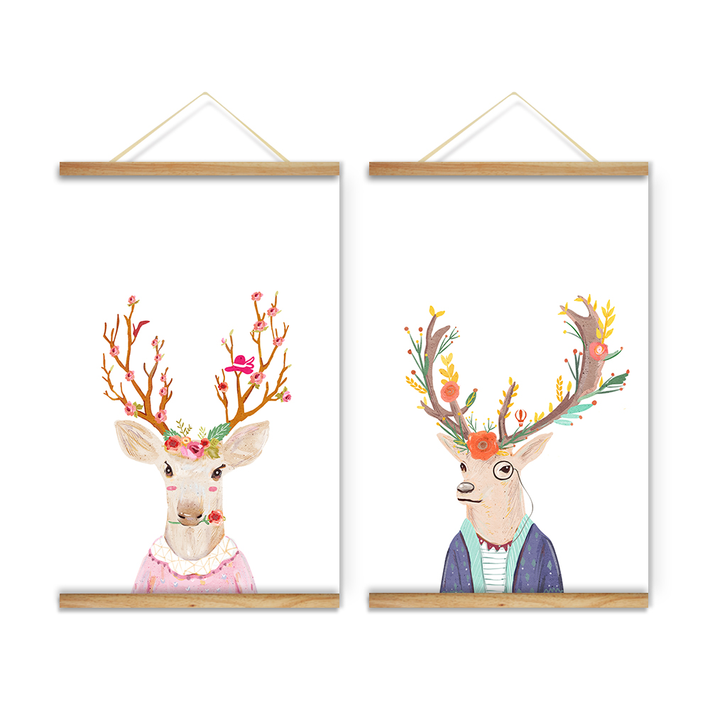Christmas reindeer cartoon decoration wall c art art for What kind of paint to use on kitchen cabinets for ready to hang canvas wall art