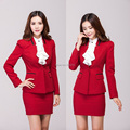 Fashion Red 2015 Formal Skirt Suits Autumn And Winter Office Ladies Work Wear Suits With Blazer And Mini Skirt Uniofm Design Set